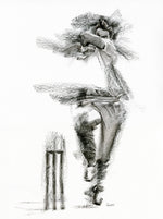 original charcoal drawing of england bowler jimmy anderson
