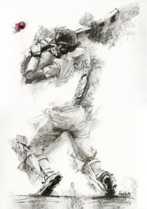 original charcoal drawing of ollie pope from england cricket and surrey cricket