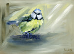 original oil painting bluetit
