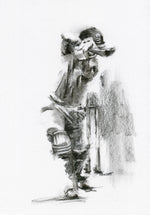 charcoal drawing artwork of Surrey cricket sam curran hitting a cover drive during england test match batsman cricket art