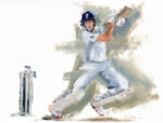 original oil painting of joe root england cricket captain batting