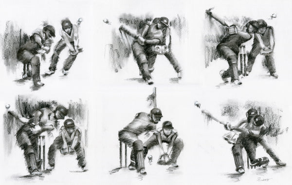 original charcoal cricket drawing of six sixes in an over
