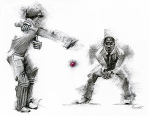 original drawing of a cricket batsman being caught behind
