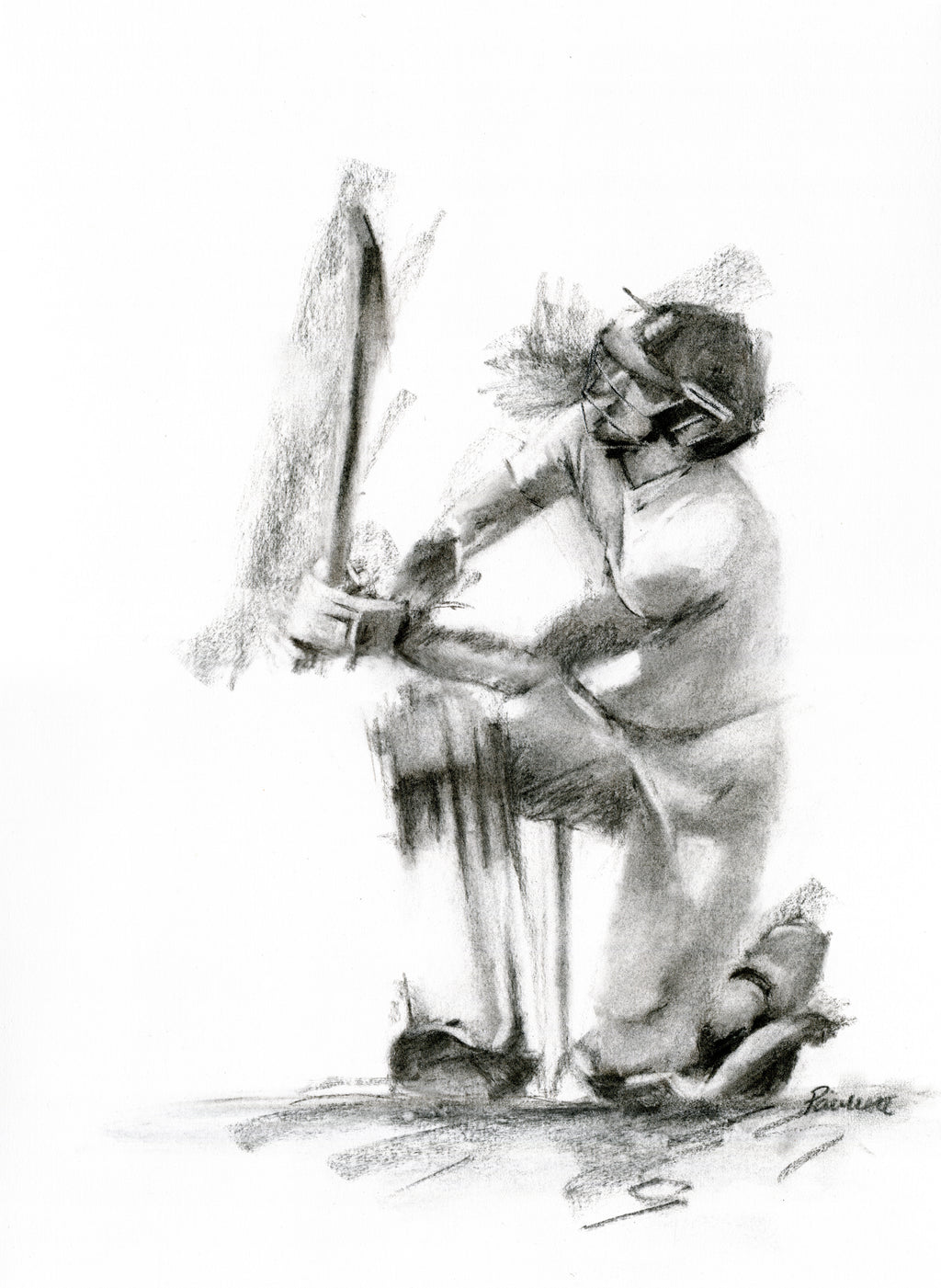 original charcoal drawing of ben stokes hitting a six with a reverse sweep