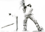 original charcoal cricket drawing of cricket batsman being bowled