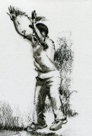 close up detail of an original cricket drawing in charcoal showing a cricketer in slips appealing for a wicket by cricket artist