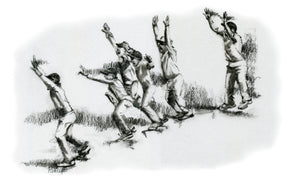 cricket fine art print showing a slip cordon jumping up in appeal | drawn in charcoal by cricket artist