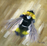 oil painting of a bee on linen panel