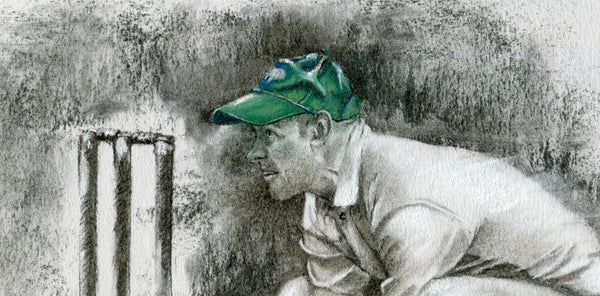 close up detail wicket keeper drawing standing up to the stumps drawn in charcoal with a green cap