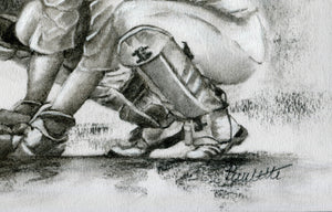 close up wicket keeper drawing standing up to the stumps drawn in charcoal with a green cap