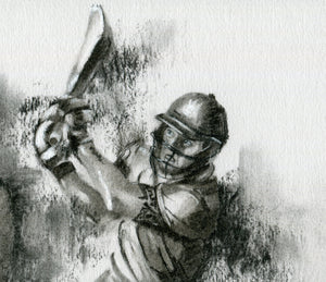 close up detail of batsman hitting a six in a t20 match drawn in charcoal by cricket artist