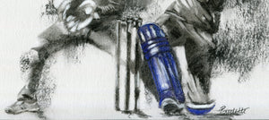 close up detail of a cricket drawing in charcoal by cricket artist showing batsman legs and pads in a t20 match