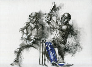 charcoal cricket drawing of a batsman hitting a six in t20 match with the wicket keeper behind