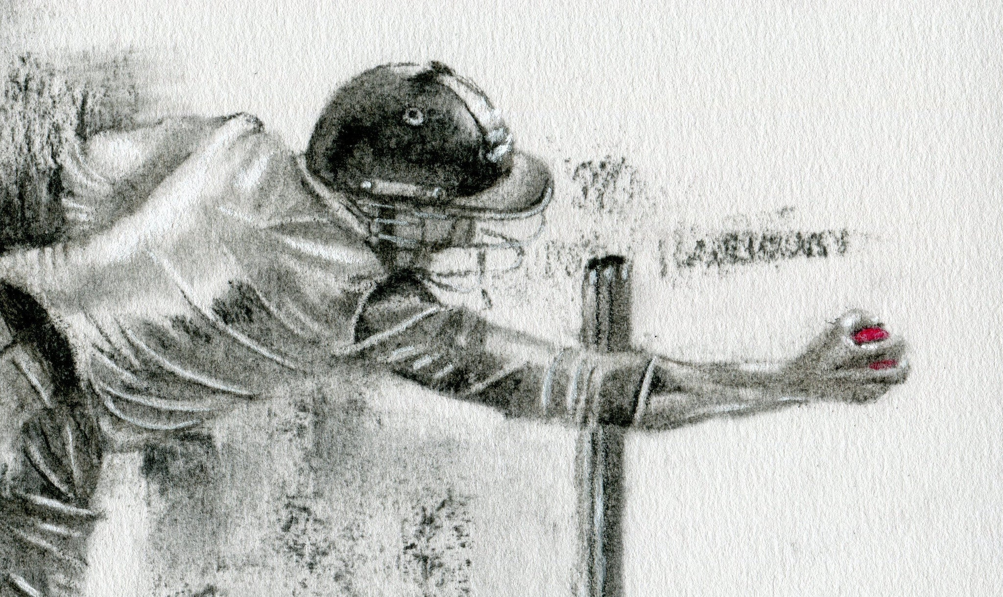 close up detail of james taylor taking a catch at short leg by cricket artist