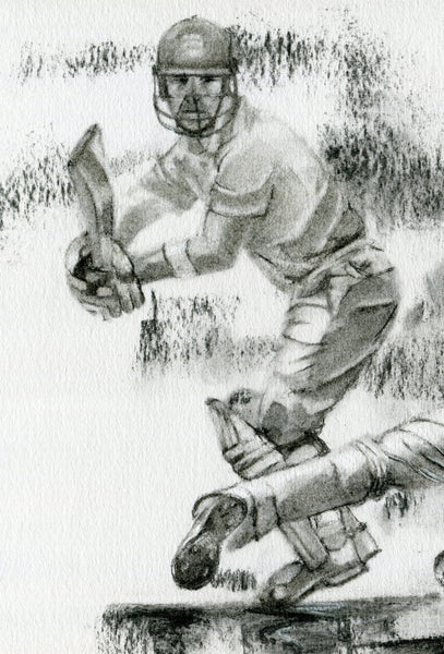 charcoal drawing of dane vilas being caught by James Taylor by cricket artist