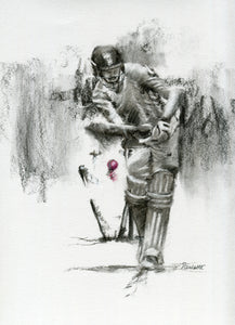 cricket art drawing print of england batsman being bowled james vince mitchell starc bowling
