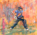 full pastel drawing of cricketer hitting a six in t20 game luke wright sussex cricket club