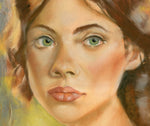 close up detail of pastel portrait