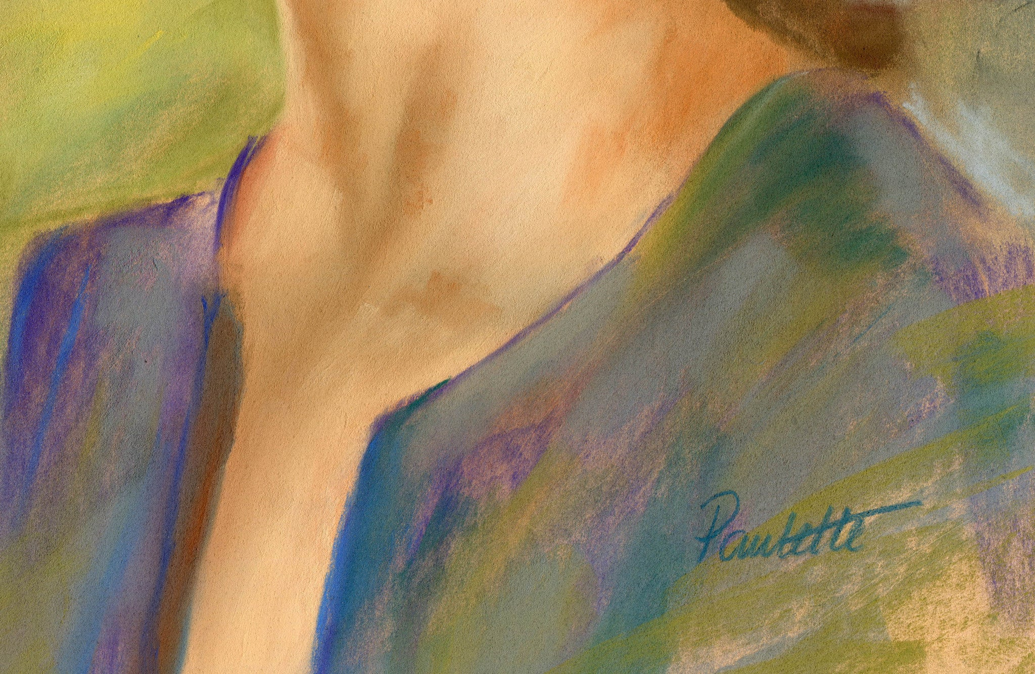 close up signature detail of the glance pastel portrait