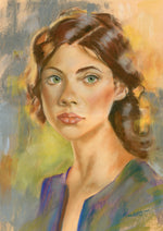 original pastel drawing of a lady glancing as she walks past