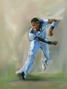 oil painting of jofra archer bowling in the world cup for england
