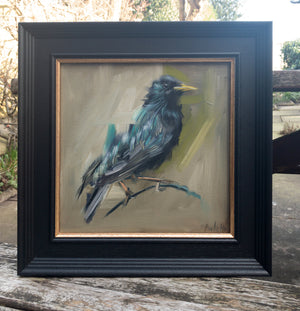 framed painting of a starling