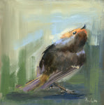 original oil painting of a robin