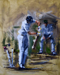 oil painting of joe root being bowled in south africa cricket tour