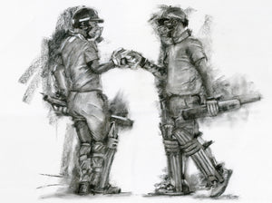 charcoal drawing of england cricket jos buttler and ben stokes