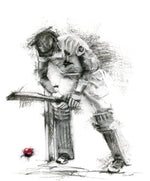 charcoal drawing cricketer batsman yorker
