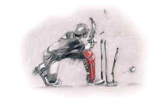 cricket drawing batsman picture print