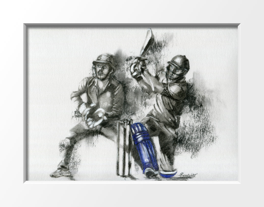 mounted cricket drawing of batsman hitting a six in a t20 match by cricket artist
