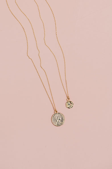 French Coin Necklace Set