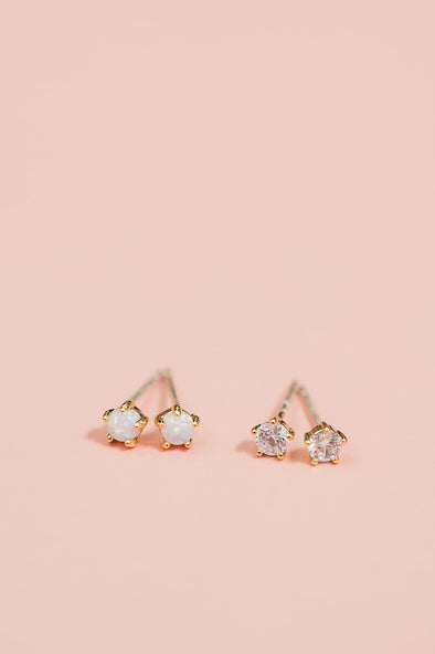 Crystal and Opal Stud Set