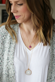 Tiny Druzy Pendant Necklace