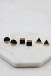 Geometric Stone Stud Trio Set