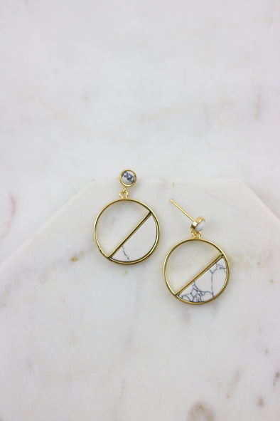 Geo Marble Earrings
