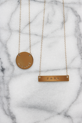 Personalized Disc and Bar Necklace Duo