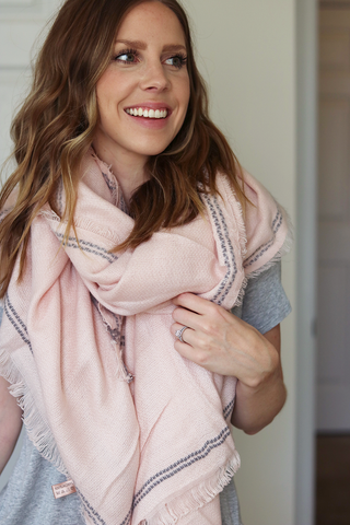 Blush and Grey Blanket Scarf