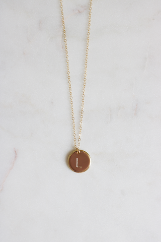 Personalized Initial Disc Necklace