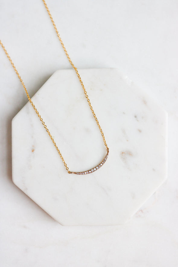 Curved Crystal Bar Necklace