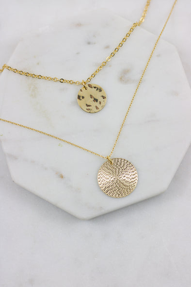 Textured Discs Necklace Set