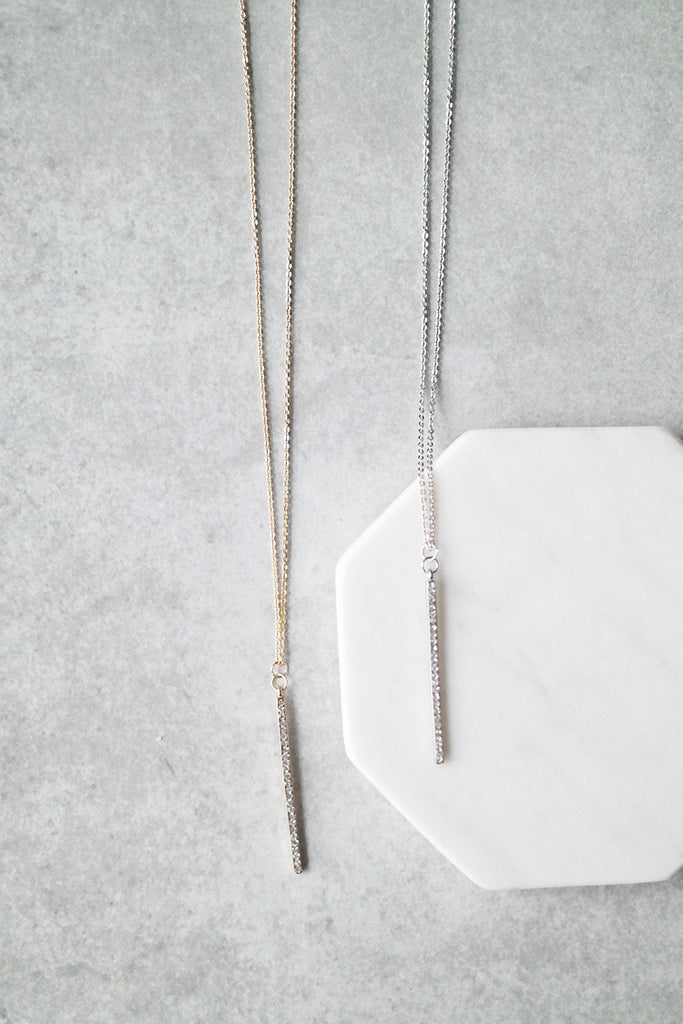 Vertical Crystal Bar Necklace