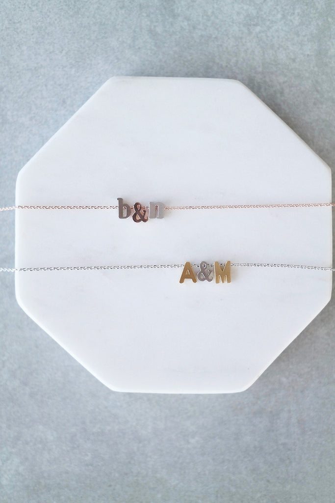 Personalized Initial and Ampersand Necklace