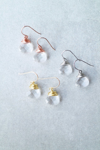 Wire-wrapped Gem Earrings