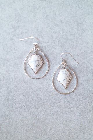Marble Arrowhead Hoop Earrings