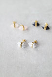 Gold Striped Stone Studs
