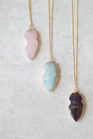 Semi-Precious Stone Arrowhead Necklace
