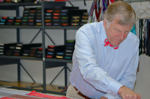 Founder Randy Hanauer working on bow ties
