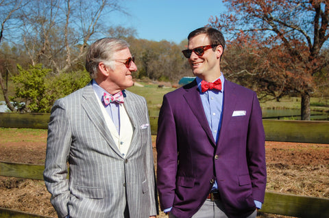 Dad and son Hanauer showing off their stylish bow ties